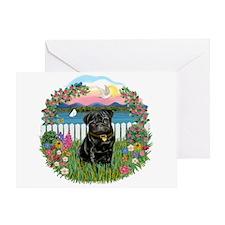 Garden-Shore-Black Pug Greeting Card