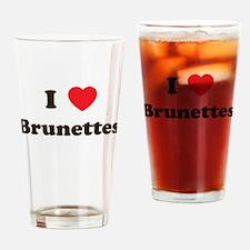 I Heart Brunettes Drinking Glass
