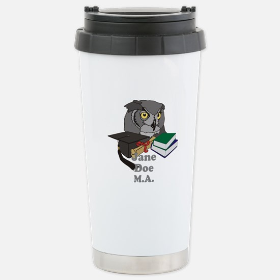 Custom Owl Graduate Stainless Steel Travel Mug