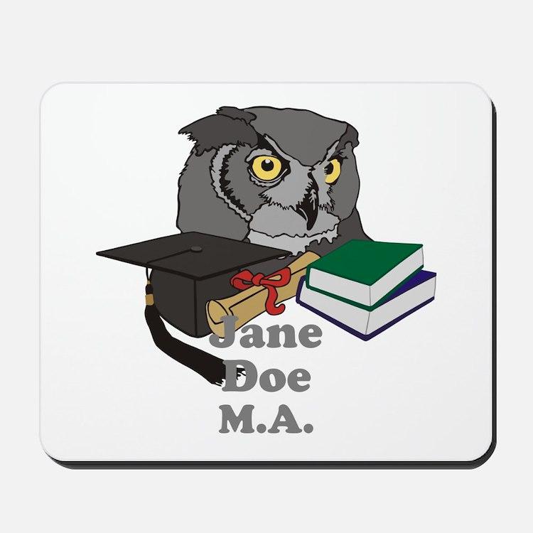 Custom Owl Graduate Mousepad