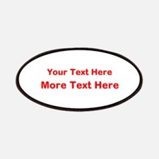 Custom Text. Bright Red. Patches