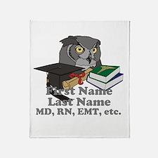 Custom Owl Medical Graduate Throw Blanket