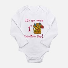 1st Valentine's Day Long Sleeve Infant Bodysuit