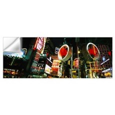 Low angle view of buildings lit up at night, Times Wall Decal
