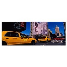 Yellow taxies at the road intersection, Manhattan, Canvas Art