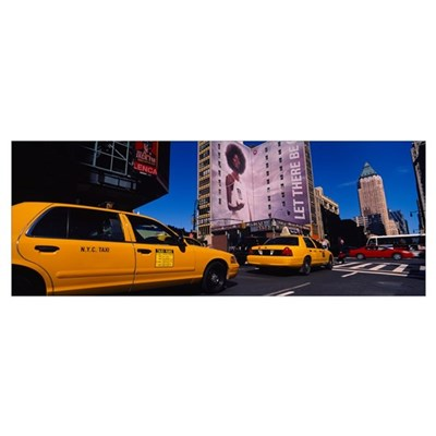 Yellow taxies at the road intersection, Manhattan, Poster