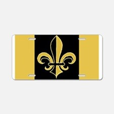 Fleur Black and Gold Aluminum License Plate