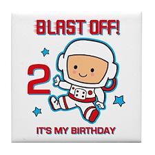Blast Off 2nd Birthday Tile Coaster