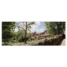 Trees near a stone wall, San Martin del Castanar,  Poster