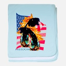 Patrotic Freedom Horses baby blanket