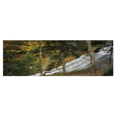Waterfall in the forest, Laughing Whitefish Falls, Poster