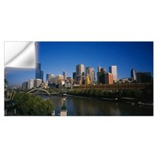 Skyscrapers in a city, Yarra River, Melbourne, Vic Wall Decal