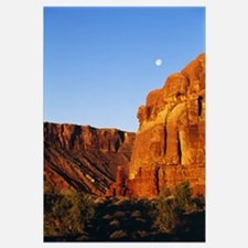 View Of Moon Over Canyon Walls