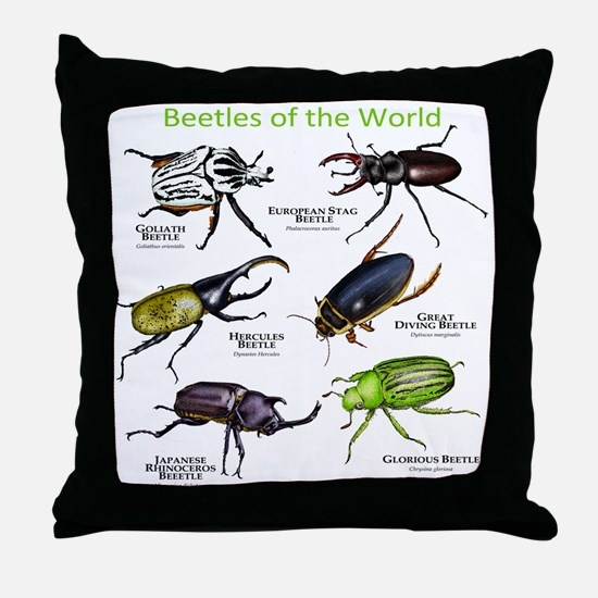 Beetles of the World Throw Pillow