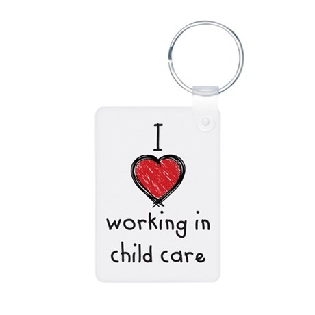 I Love working in child care Aluminum Photo Keycha