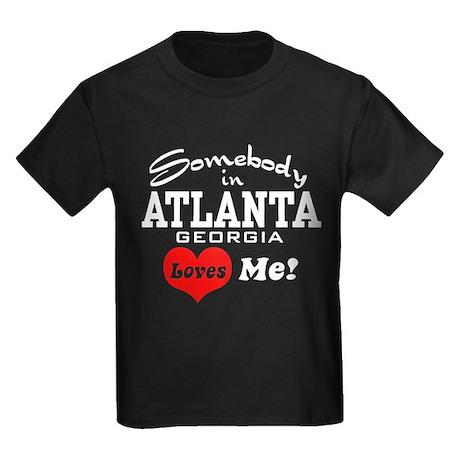 Somebody In Atlanta Loves Me Kids Dark T-Shirt