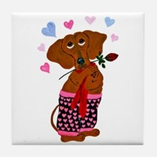 Dachshund In Pink Heart Short Tile Coaster