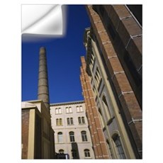 Low angle view of a chimney of a tobacco factory, Wall Decal