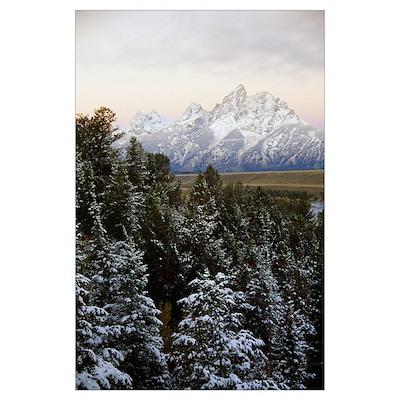 Autumn snow on Grand Teton mountains, Grand Teton Poster
