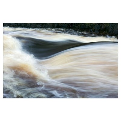 Water rushing on Rapid River, close up, Minnesota Poster