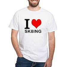 """White """"I HEART SK8ING"""" T-Shirt"""