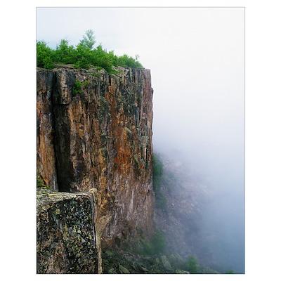 Palisade Head in mist, Tettegouche State Park, Min Poster