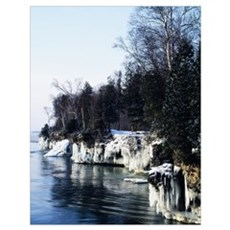 Snow and ice on Lake Michigan shoreline, Cave Poin Poster