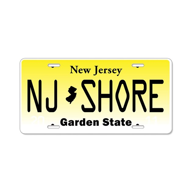 New Jersey, License Plate, Jersey Shore Aluminum L by