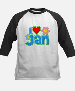 I Heart Jan Kids Baseball Jersey