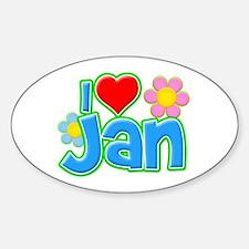 I Heart Jan Oval Decal