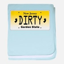 New Jersey DIRTY License Plate baby blanket