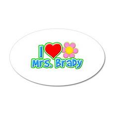 I Heart Mrs. Brady 22x14 Oval Wall Peel