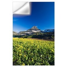 Mount Reynolds and blue sky, blooming glacier lili Wall Decal