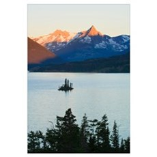 Wild Goose Island in Saint Mary Lake, jagged mount Framed Print