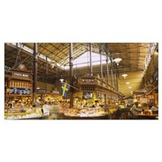 Interiors of a market, Saluhall Market, Ostermalms Poster