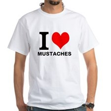 """White """"I HEART MUSTACHES"""" T-Shirt"""