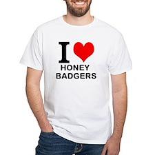 """White """"I HEART HONEY BADGERS"""" T-Shirt"""