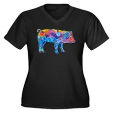 Pigs of Many Colors Women's Plus Size V-Neck Dark