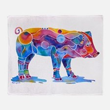 Pigs of Many Colors Throw Blanket
