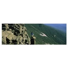 Man standing on a rock, Mt Liberty, White Mountain Framed Print