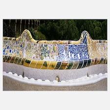 Mosaic details of a bench, Park Guell, Gracia, El