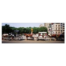 Horse carriages in a city, Grand Army Plaza, Centr Poster
