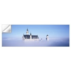 Castle covered with fog, Neuschwanstein Castle, Ba Wall Decal