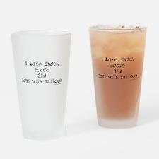I love (blk) Drinking Glass