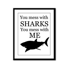 Don't Mess with Sharks Framed Panel Print
