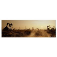 Oil drills in a field, Maricopa, Kern County, Cali Poster