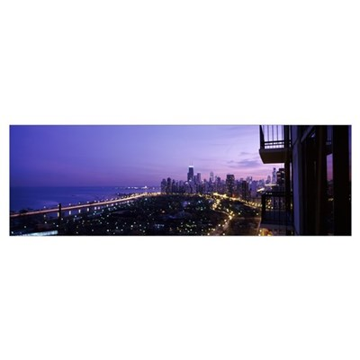 City at night, Lake Michigan, Chicago, Cook County Poster