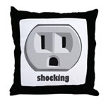 Shocking Wall Outlet Throw Pillow