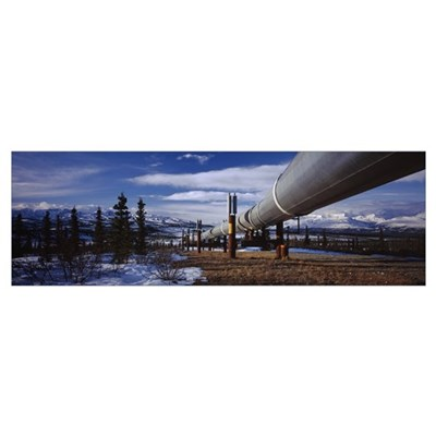 Pipeline passing through a snow covered landscape, Poster