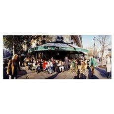 Group of people at a sidewalk cafe, Les Deux Magot Poster